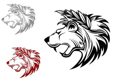 Angry heraldic lion with laurel wreath on head Illustration