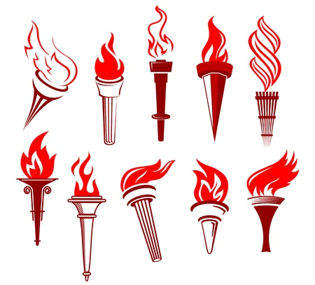 Set of flaming torchs isolated on white background Vector