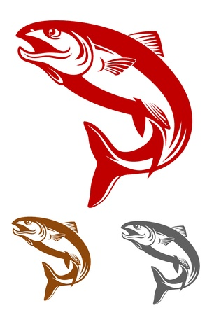 truchas: La mascota de salmón pescado en estilo retro aislado sobre fondo blanco
