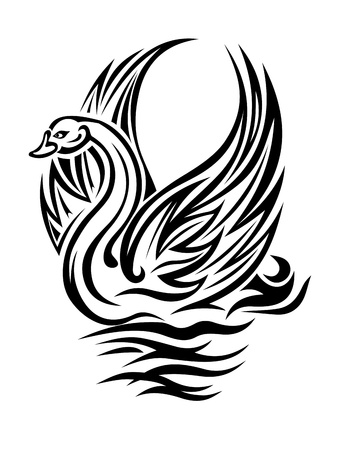 swimming swan: Swan bird in retro style swimming on water