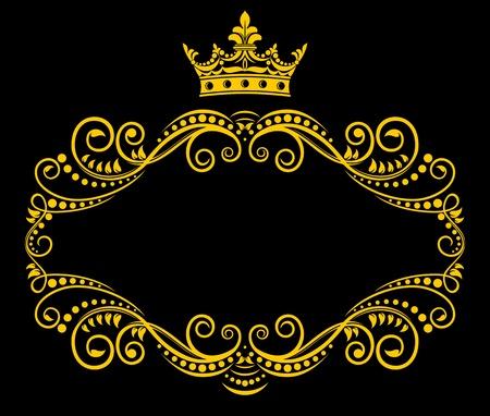 crown silhouette: Cornice medievale con corona reale in stile retr�
