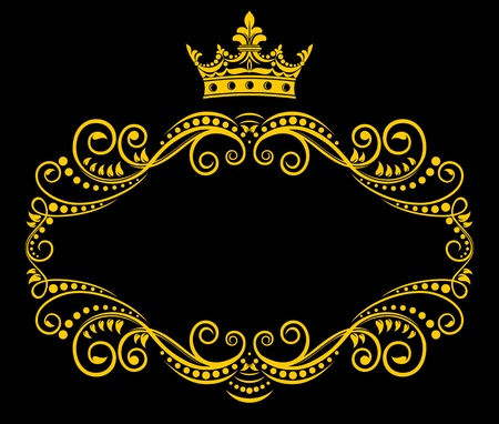 royal crown: Medieval frame with royal crown in retro style Illustration