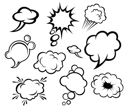 boom: Speech bubbles and clouds set in cartoon style