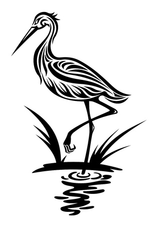 black stork: Heron bird in silhouette style for environment design Illustration
