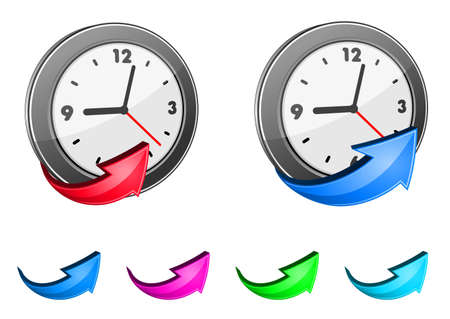 timekeeper: Clock icons and glossy arrow set for design Illustration