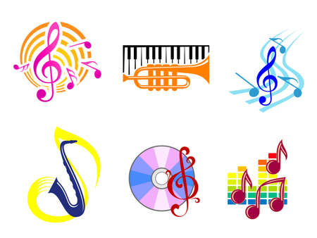Set of musical symbols, emblems and icons Stock Vector - 12778627