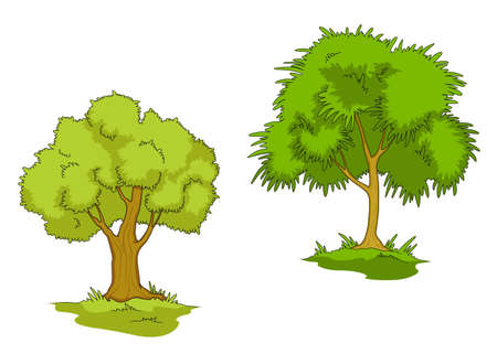 forest conservation: Green trees with grass isolated on white background Illustration