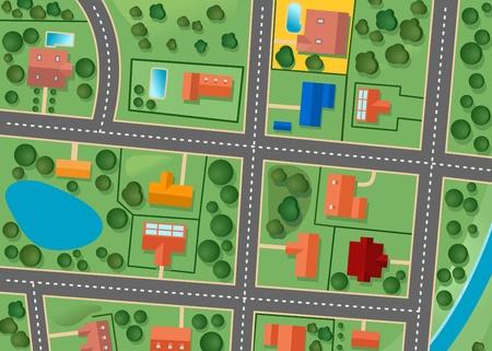 Kaart van voorstad district voor verkocht vastgoed ontwerp