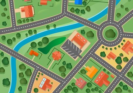 Kaart van voorstad dorp voor verkocht vastgoed ontwerp Vector Illustratie