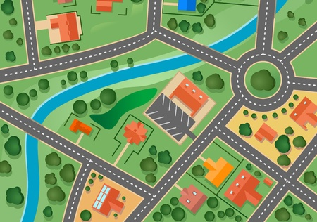 residential district: Map of suburb village for sold real estate design