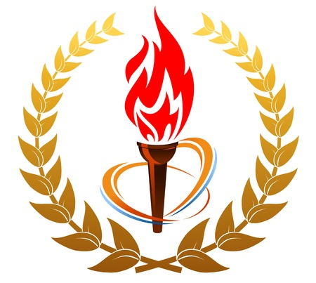 olympic symbol: Flaming torch in laurel wreath for sports design