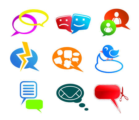 Chat and communication icons and symbols set isolated on white background Stock Vector - 12778554