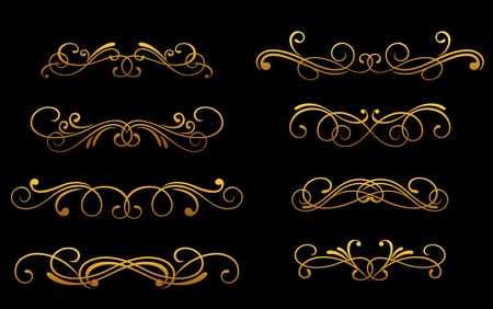 Set of vintage golden monograms and decorations for design