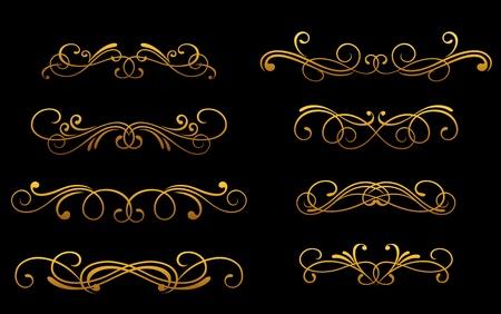 monogram: Set of vintage golden monograms and decorations for design Illustration