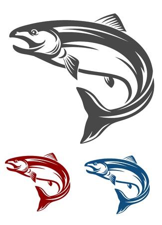 Pêcher le saumon sautant dans le style rétro isolé sur fond blanc