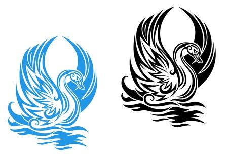 cisnes: Natación hermoso cisne en el agua en estilo retro