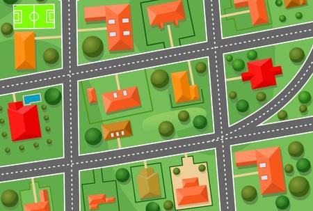 Map of cottage village for sold real estate design Vector