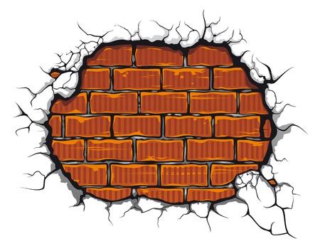 paredes de ladrillos: Brickwall dañado en el estilo de dibujos animados para el diseño Vectores