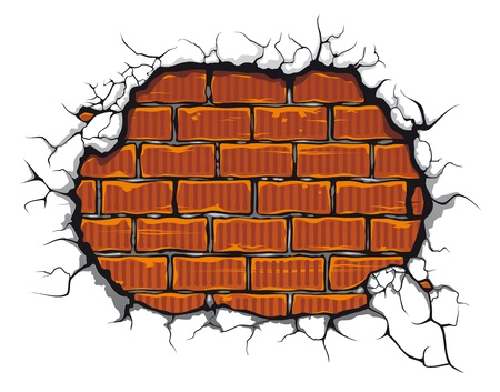 holes: Damaged brickwall in cartoon style for design