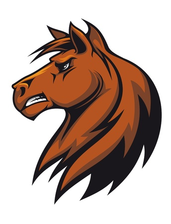 Brown stallion head for mascot or equestrian sports design Vector