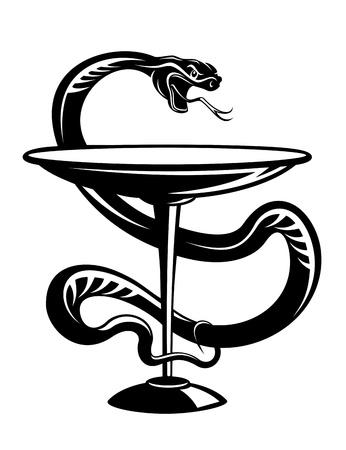 serpent noir: Symbole du serpent m�decine et de pharmacie isol� sur fond blanc