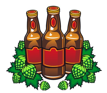 Beer bottles and hop in cartoon style for pub or tavern design Vector