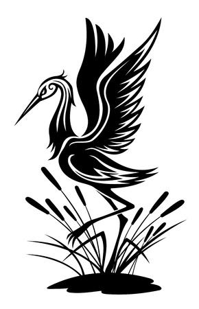 airone: Heron uccello in stile silhouette per la progettazione dell'ambiente Vettoriali