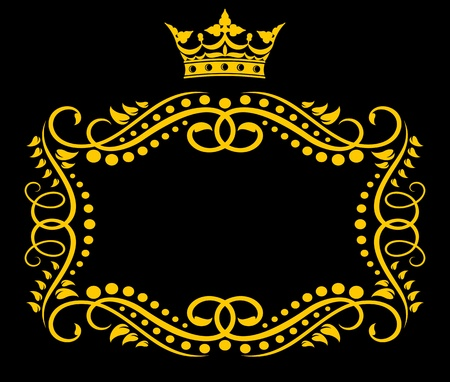aristocratic: Medieval frame with royal crown in vintage style