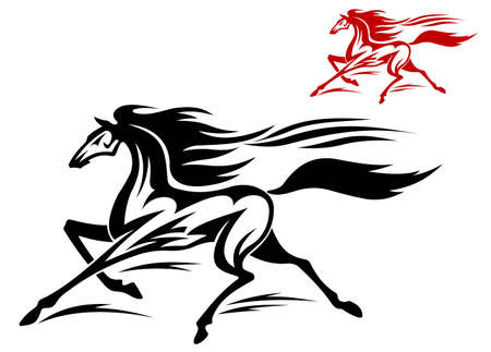 racehorse: Fast running stallion in two variations for equestrian sports design