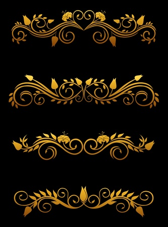 Vintage floral elements and borders set for ornate Vector