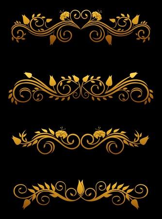 Vintage floral elements and borders set for ornate Vector