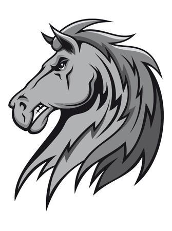 cabeza de caballo: Angry caballo salvaje en el dise�o de dibujos animados de la mascota o el dise�o de deportes ecuestres