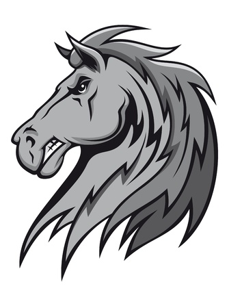 paardenhoofd: Angry wilde hengst in cartoon ontwerp voor mascotte of paardensport ontwerp
