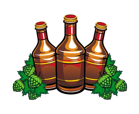 Beer bottles and hop leaves for pub or tavern design Vector