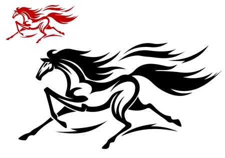 gelding: Fast running mustang for tattoo or equestrian sports design