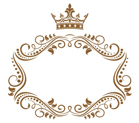 Elegant royal frame with crown isolated on white background Illustration