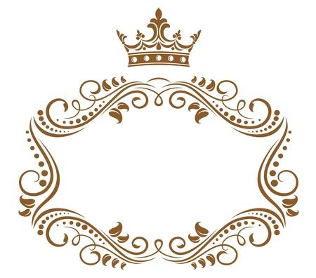 crown silhouette: Elegante cornice con corona regale isolato su sfondo bianco Vettoriali