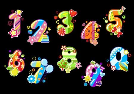 cijfer vier: Kleurrijke kinderen getallen en cijfers met speelgoed en versieringen