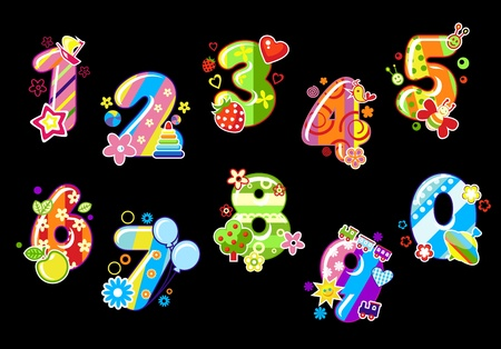 numero nueve: Número de niños de colores y números con los juguetes y adornos
