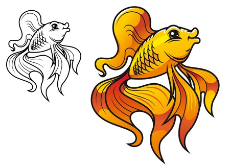 Colorful smiling golden fish in cartoon style isolated on white background Vector