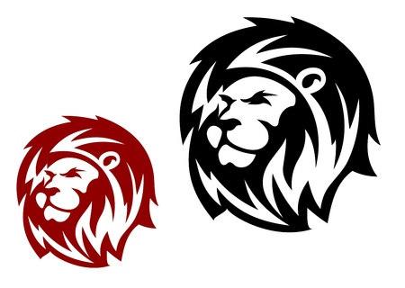 lion head: Lion head in two variations for heraldic or mascot design Illustration
