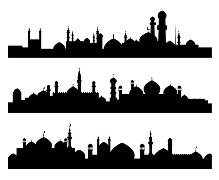 minarets: Set of muslim cities silhouettes for architecture or historical design