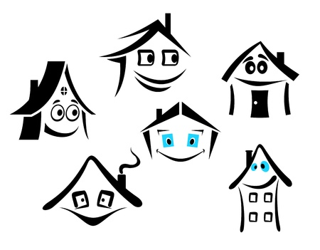 architecture pictogram: Set of smiling houses for real state design