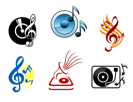 Musical icons and symbols for design and decorations Vector