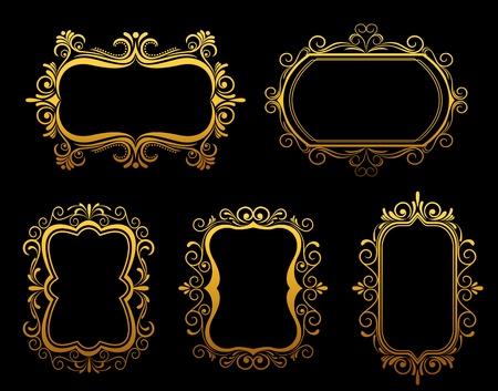 vignette: Vintage frames et les fronti�res fix�es pour l'embellissement fleuri et