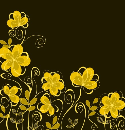 yellow flower: Abstract floral background with yellow flowers for textile design Illustration