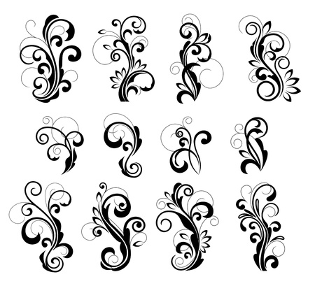 cartouche: Floral patterns for design isolated on white