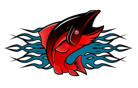 jumping carp: Fish with tribal flames for tattoo design