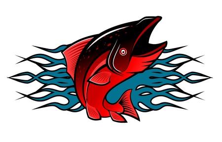 carp fishing: Pesce con le fiamme tribali per il disegno del tatuaggio