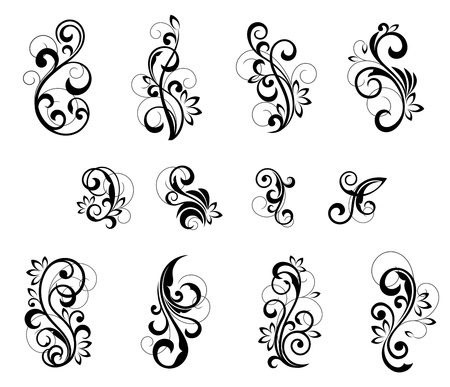 Floral patterns for design isolated on white Stock Vector - 12792750